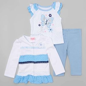Nannette Matching Sets - Nannette White & Blue Polka Dot Cardigan Set
